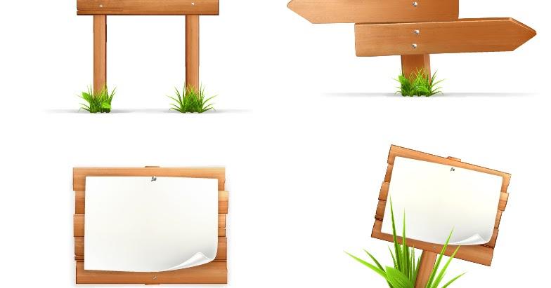 Free Vector がらくた素材庫: 木製道標 Wood signposts material イラスト素材