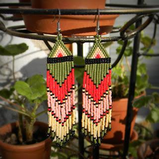 купить красивые серьги в этно-стиле серьги из бисера с бахромой купить ру