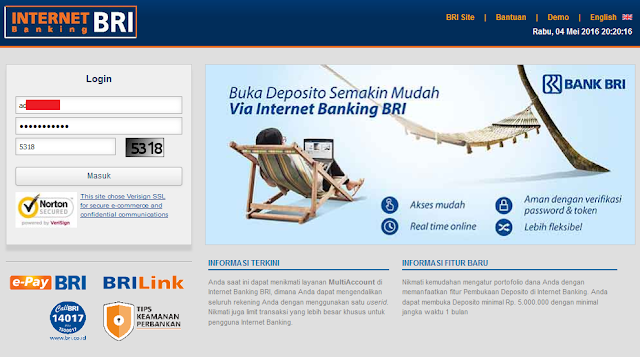 Cara Transfer Uang Melalui Internet Banking BRI ke BCA, BNI, Mandiri (Bank Lain), Halaman Depan Internet Bangking BRI