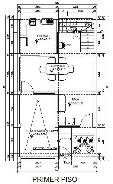 Planos de una casa planos de una casa de 6m x 11m for Planos de cocina y lavanderia