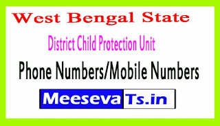 Child Protection Unit (DCPU)Phone Numbers/Mobile Numbers in West Bengal State