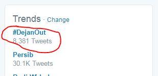 Persib Kalah 1-4 dari Bhayangkara SU, #DejanOut Trending Topic di Twitter