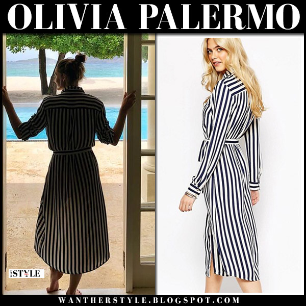 Olivia Palermo in striped belted dress vacation holiday style august 2018