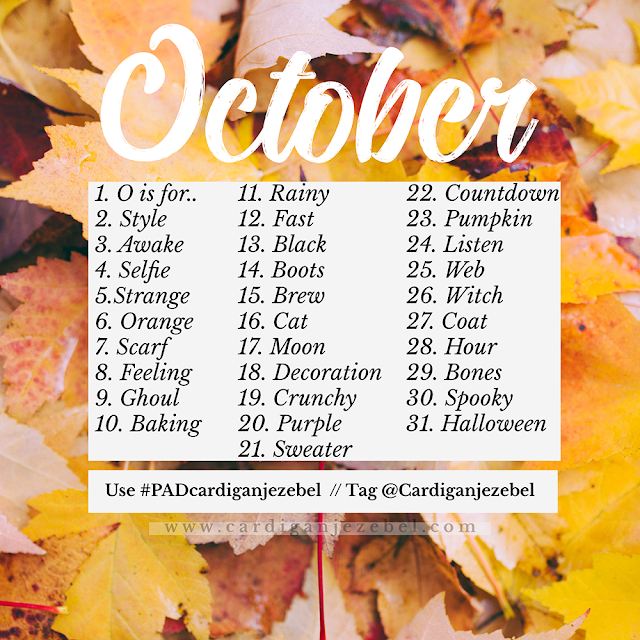October 2018 photo a day challenge photography prompt list for Autumn