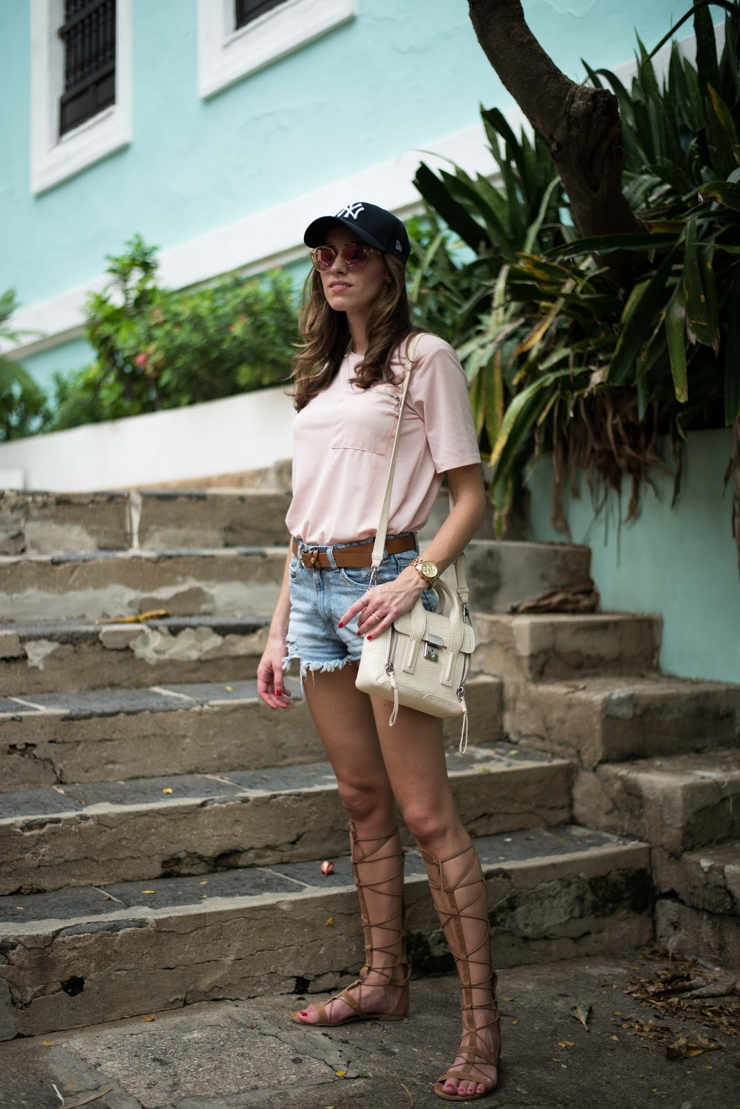 baseball cap summer outfit denim shorts pink top