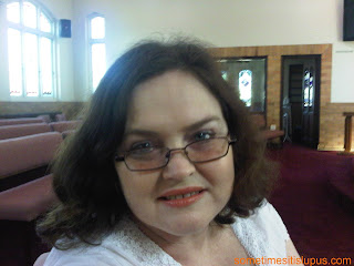 Photo of Iris Carden, inside church.