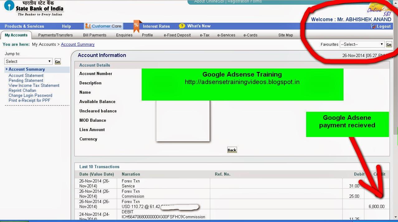 26 November Ko Google Adsense Ne 6 800 Inr Ka Payment Mere Bank Account Me Wire Transfer