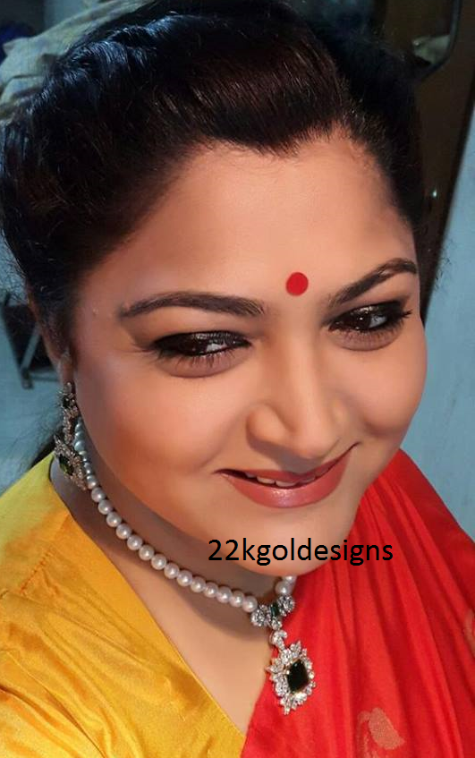 Kushboo Sundar in Pearl Necklace