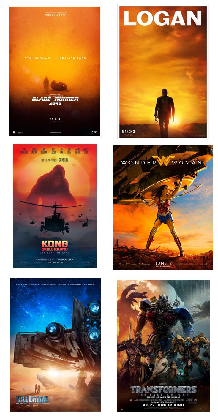 moviepush blue and orange in movie posters for 2017