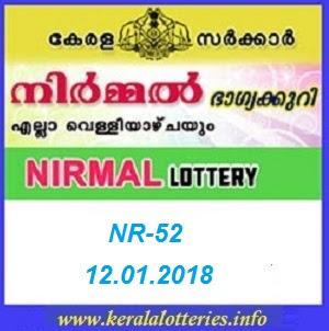 NIRMAL (NR-52) LOTTERY RESULT ON JANUARY 12, 2018