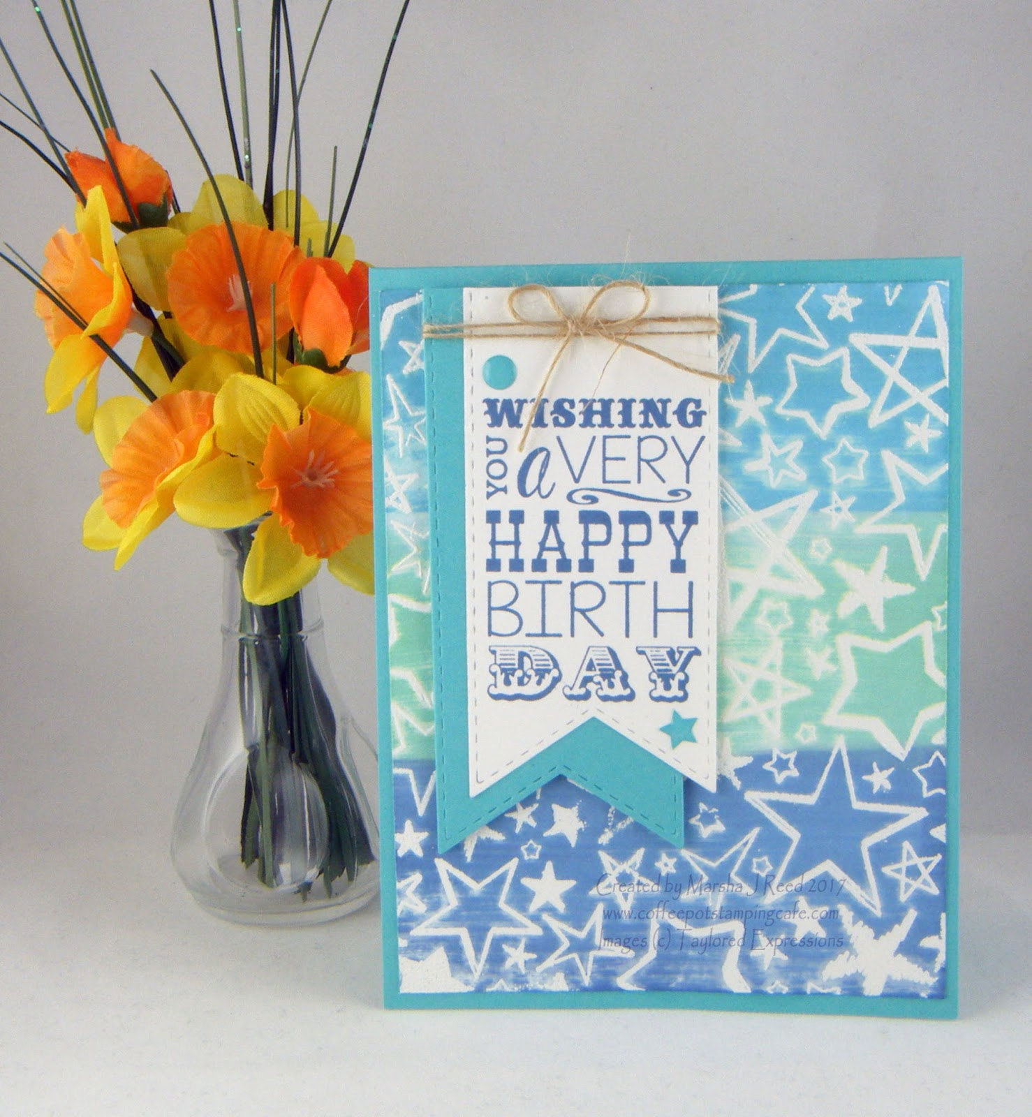 coffee pot stamping cafe: birthday stars