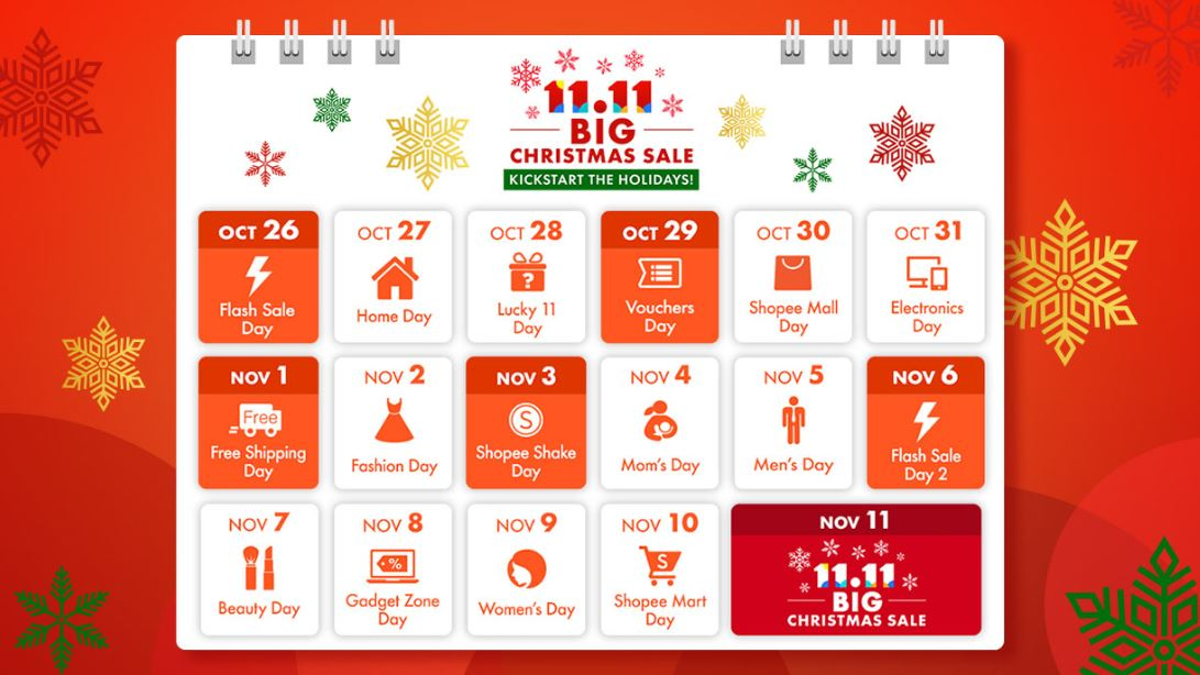 Shopee Big Christmas Sale calendar