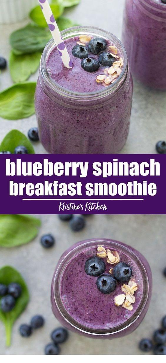 Blueberry Spinach Breakfast Smoothie