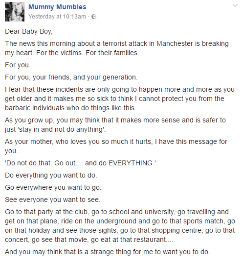 """Manchester terror attack: """"You mustn't be afraid of these monsters"""" - Blogger Mummy Mumbles pens an open letter to her young son,"""