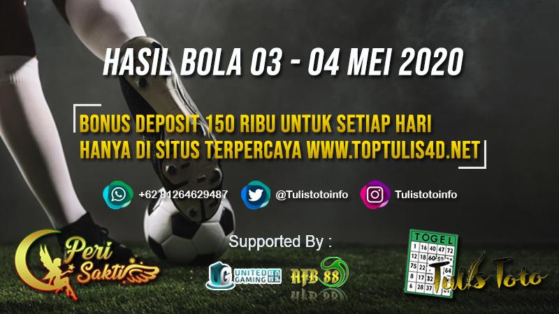 HASIL BOLA TANGGAL 03 – 04 MEI 2020