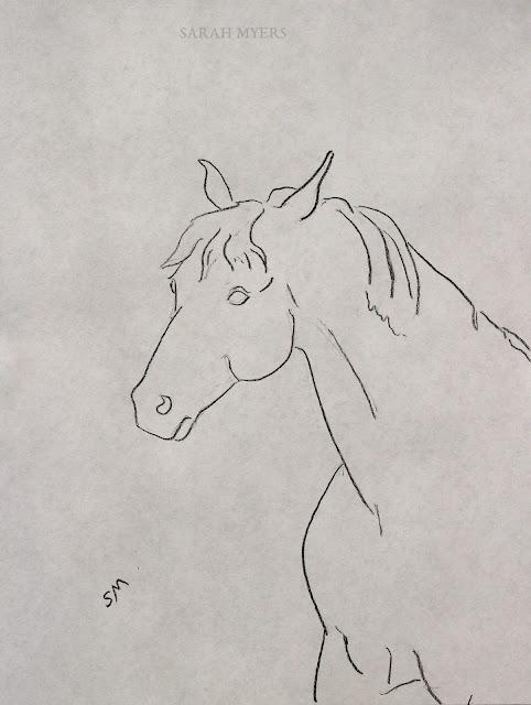 art, arte, drawing, Sarah, Myers, dessin, dibujo, minimal, minimalism, horse, caballo, line, line-drawing, charcoal, animal, simple, modern, contemporary, mane