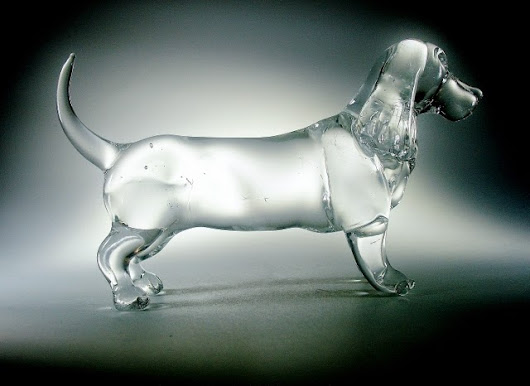 Made a crystal clear glass Basset type hound