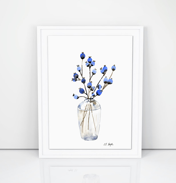 blue fall floral flower buds- original watercolor painting by Elise Engh