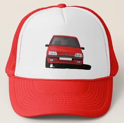 Punainen Peugeot 205 GTi lippalakki