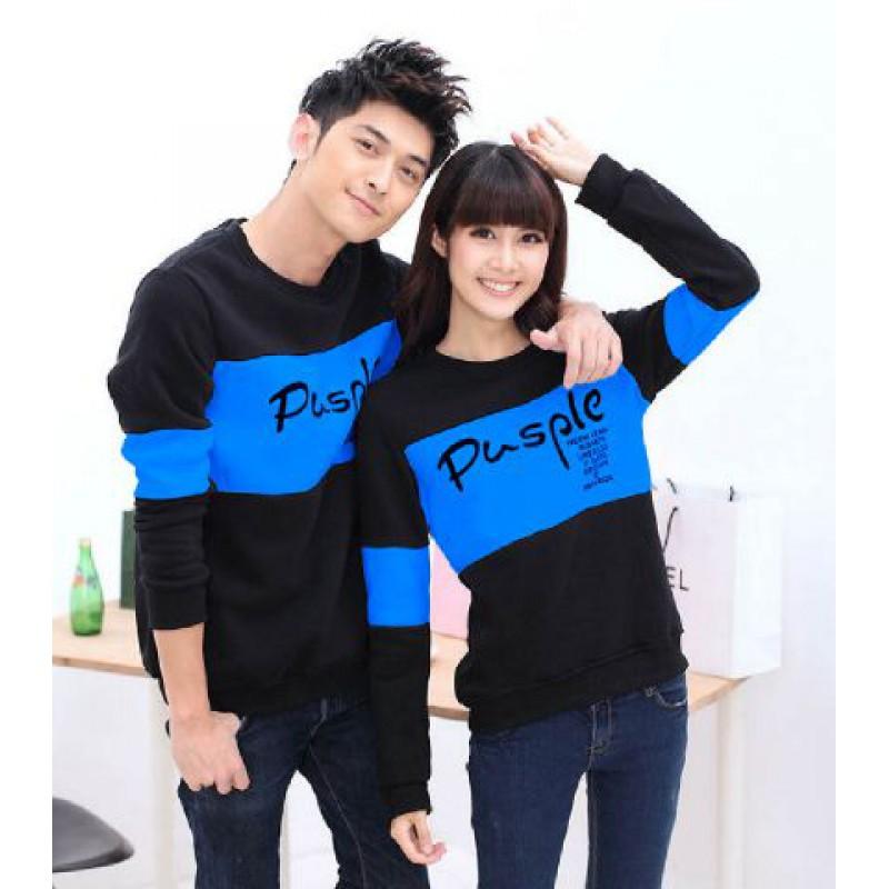 Jual Online Sweater Pusple Blink Hitam Biru Couple Murah Jakarta Bahan Babytery Terbaru