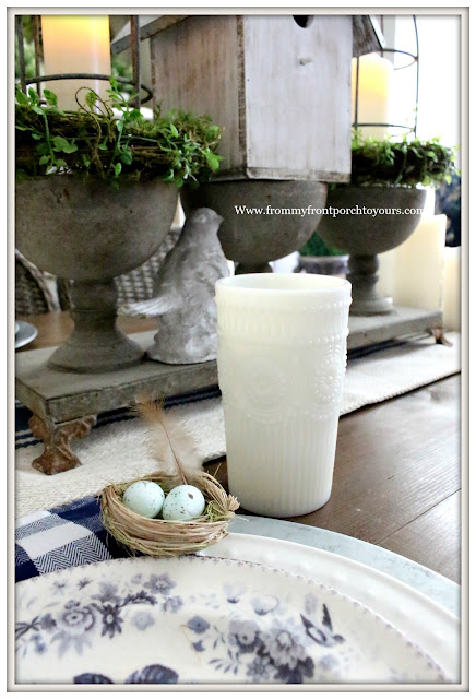 French Country Farmhouse-Dining Room-Milk Glass-Pioneer Woman-Bird Nests-Blue and White-Spring Decor-From My Front Porch To Yours
