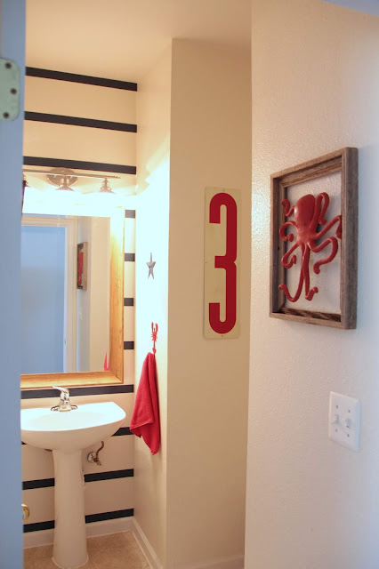 Red bathroom accents