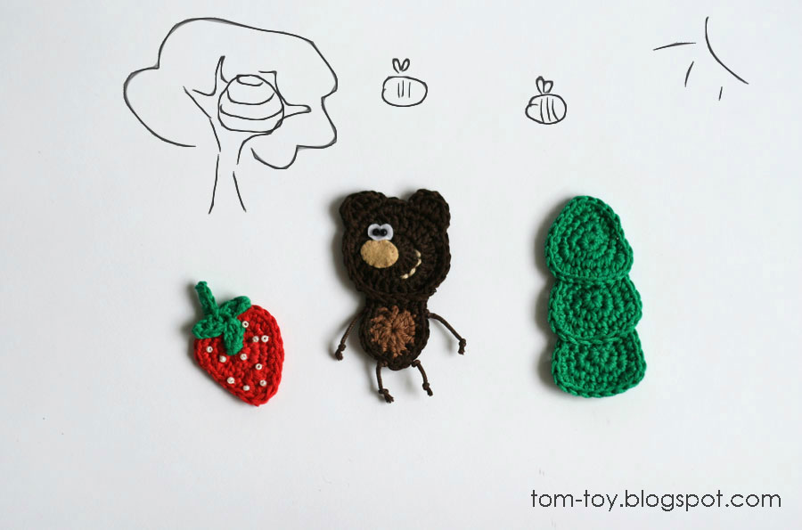woodland crochet applique bear