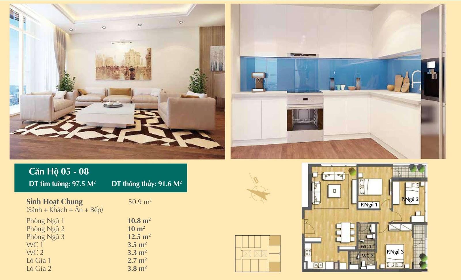 Thiết kế căn hộ số 05, 08 - 97,5m2 Hoàng Cầu Skyline