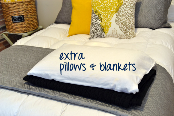 Extra pillows and blankets in guest room