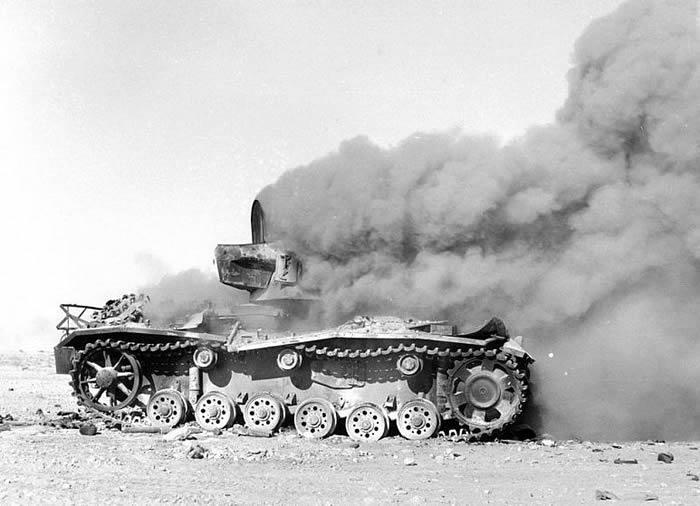 German panzer destroyed in El Alamein battle field