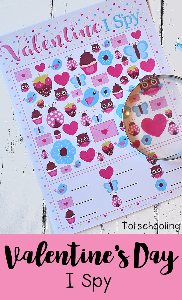 FREE printable I Spy game for Valentine's Day fun. Perfect no-prep counting activity for preschool and kindergarten. Kids will love finding the adorable images that come in different sizes, making it a challenging visual discrimination activity.