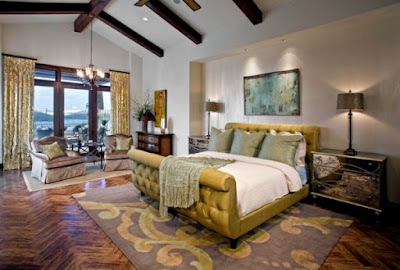 Cozy-bedroom-The-sleigh-bed-in-gold-brings-in-one-of-the-hottest-colors-of-the-season
