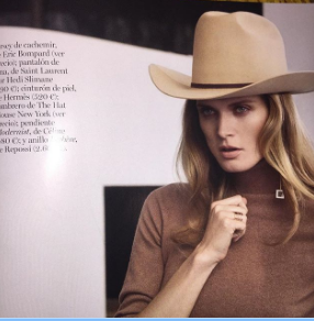 Ken Lee Custom beaver hats 346-640-4048 Vogue April Cover Moedel 2016