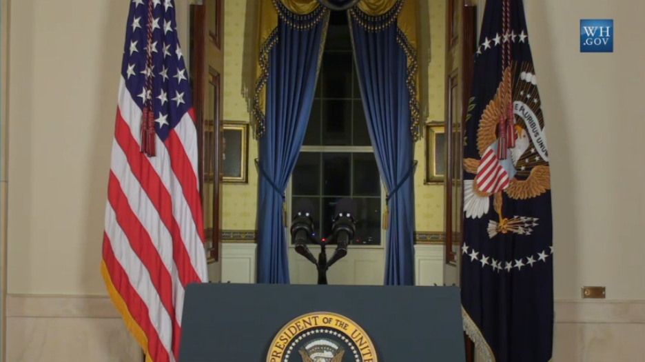 Right before Barack Obama starts his ISIS speech.