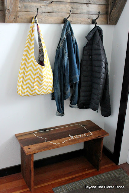 reclaimed wood bench for the entryway