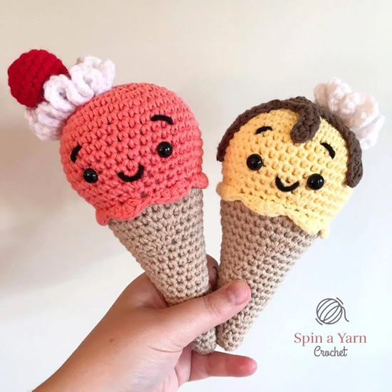 Crochet ice cream, free crochet pattern (and photo) by Spin a yarn crochet | Happy in Red