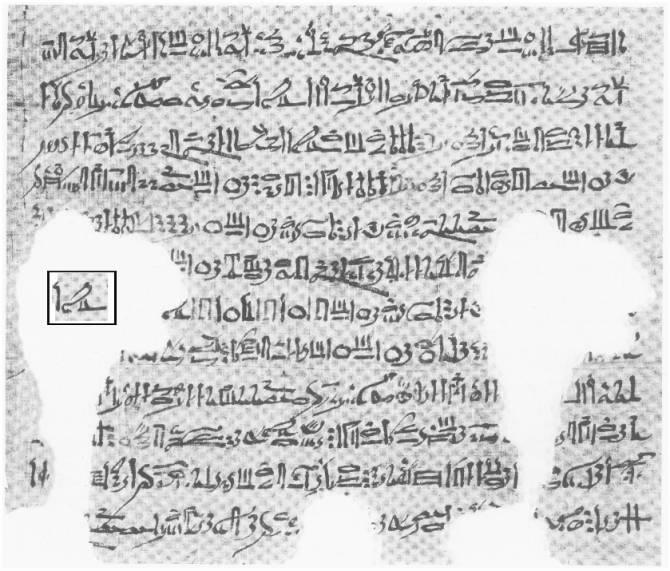 Una página del almanaque. Dentro del rectángulo se puede ver en escritura hierática la palabra Horus.