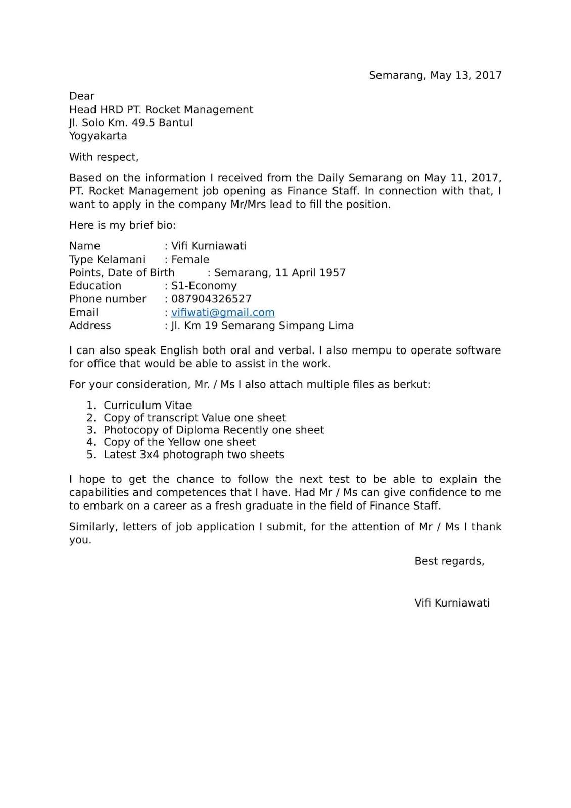 Contoh Surat Lamaran Bahasa Inggris Pendek