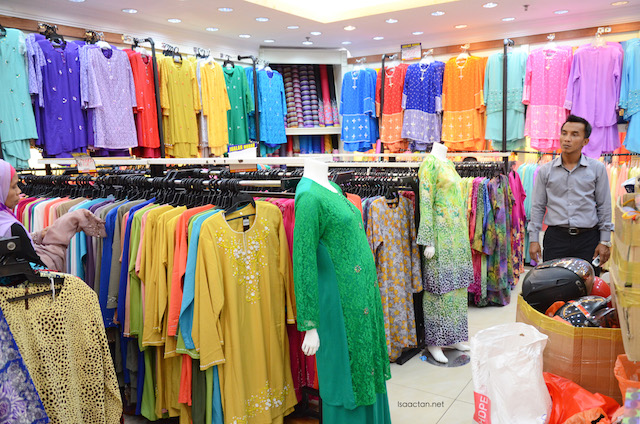 Extensive collection of Baju Kurung and Baju Melayu on top of other clothings were available