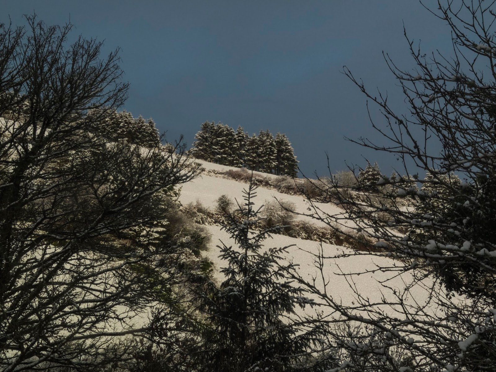 A dramatic dark blue sky looming over a snow covered hillside in North County Cork.