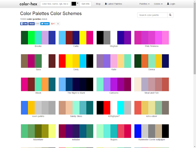 screenshot of color palettes listed on color-hex.com