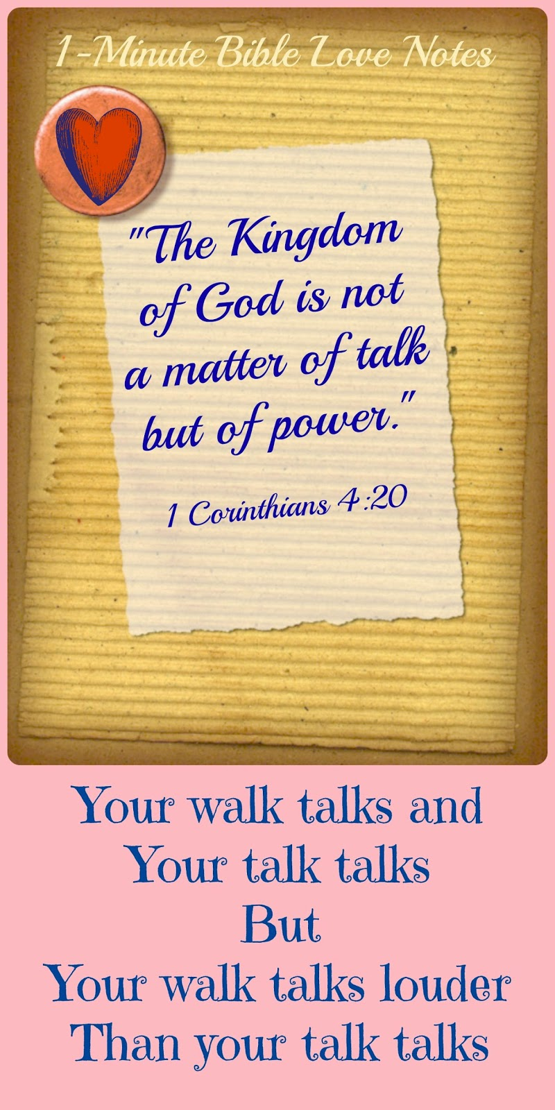 1 Corinthians 4:20, genuine faith, not just talk