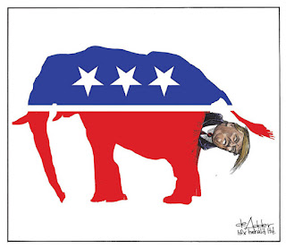 Michael de Adder cartoon - Donald Fucking Trump being shit out of a Republican elephant