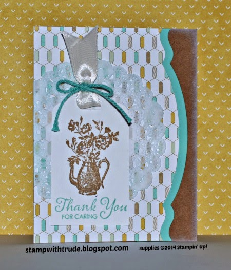 Stampin' Up! Tea Party Thank You card by Trude Thoman  http://stampwithtrude.blogspot.com