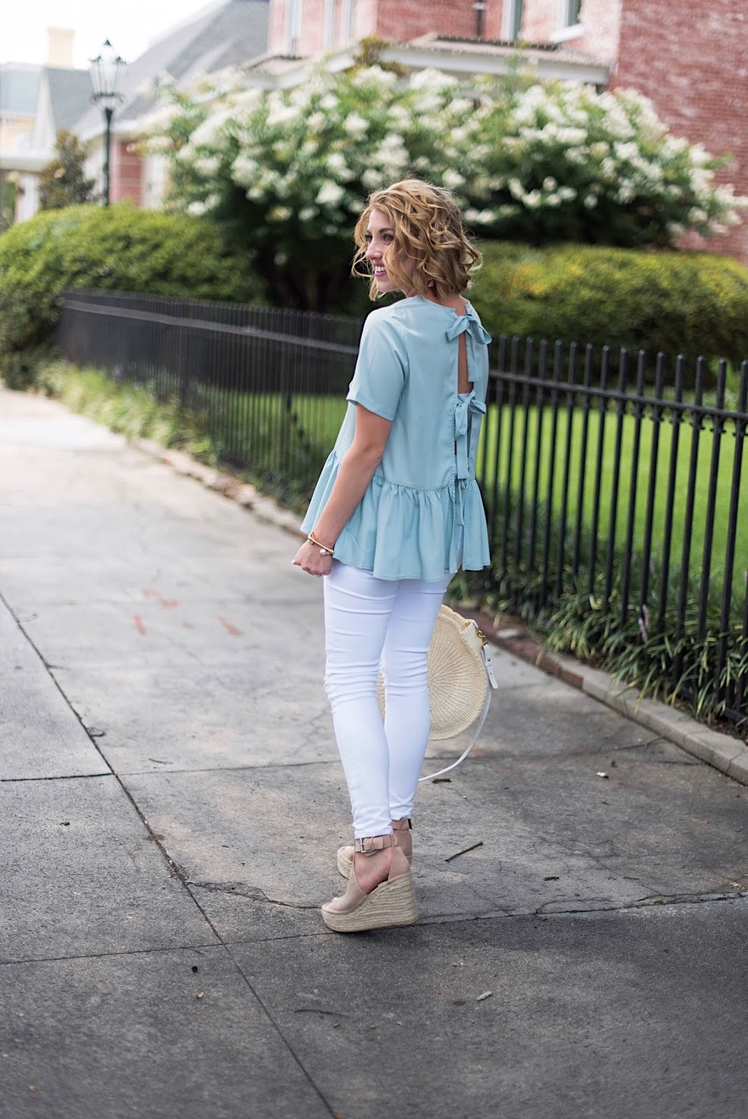 Bow Back Peplum Top - Click through to see more on Something Delightful blog!