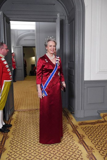 Crown Princess Mary, Princess Marie, Princess Benedikte wore diamond tiara, wore gown, long satin dress