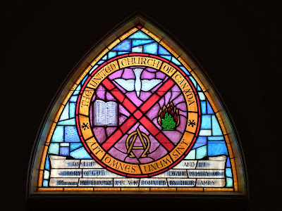 Stained glass at entrance of Stittsville United
