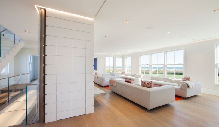 Closed closet in the living room of Contemporary style home on the beach
