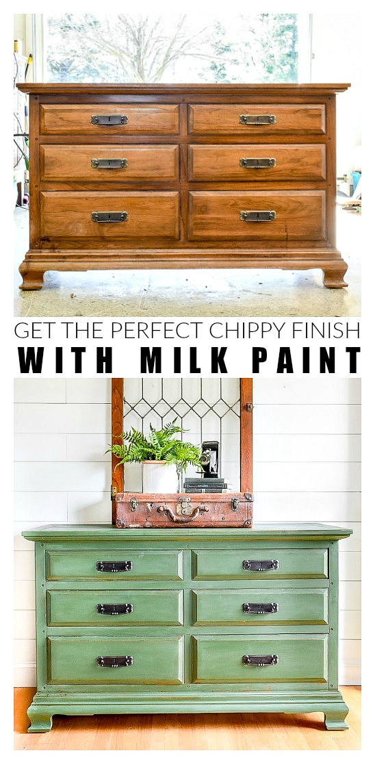 Chippy milk painted dresser before and after