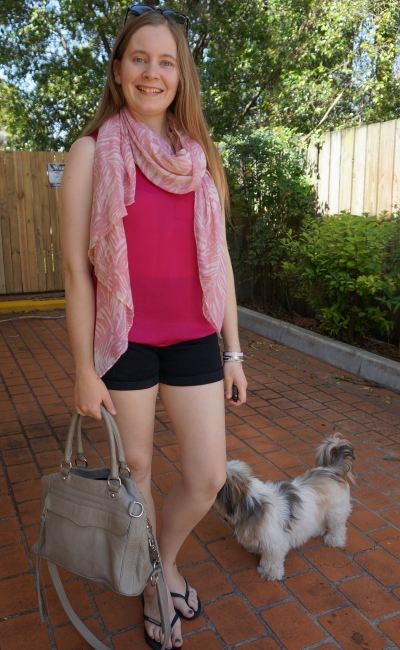 blush pink scarf with magenta hot pink tank black denim shorts rebecca minkoff mam | awayfromblue